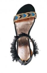 Kožené sandále s korálkami Heine, čierne #3