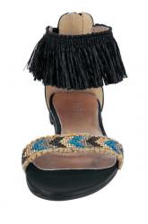 Kožené sandále s korálkami Heine, čierne #4