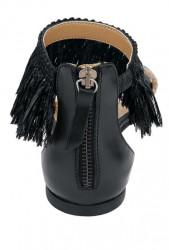 Kožené sandále s korálkami Heine, čierne #5