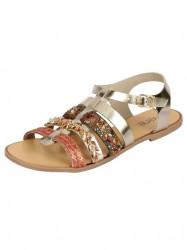 Kožené sandále v metalickom vzhľade, zlaté