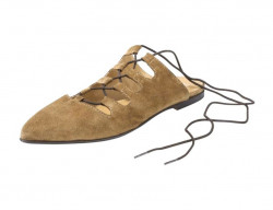 Kožené semišové baleríny , hnedá
