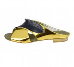 Kožené šľapky Heine, zlato-čierna #1