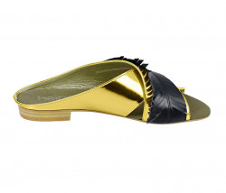 Kožené šľapky Heine, zlato-čierna #2