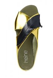 Kožené šľapky Heine, zlato-čierna #3