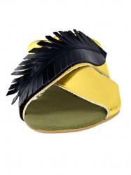 Kožené šľapky Heine, zlato-čierna #4
