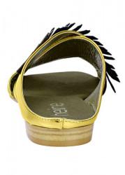 Kožené šľapky Heine, zlato-čierna #5