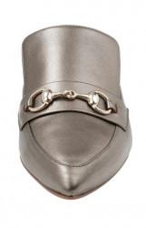 Kožené šľapky, metalické-sivo-bežové #4