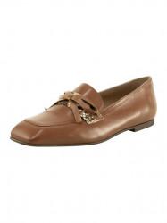 Kožené slipper topánky Heine, koňaková