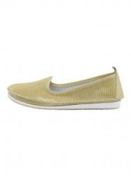 Kožené slippery v metalickom vzhľade Heine, žltá #1