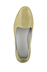 Kožené slippery v metalickom vzhľade Heine, žltá #3