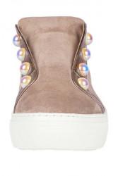 Kožené topánky GABOR s perlami, sivobéžová #4