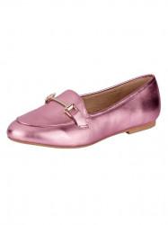 Kožené topánky Heine, ružová-metalická