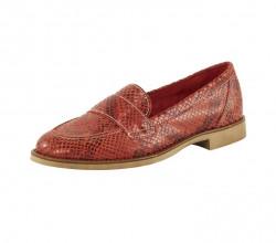 Kožené topánky s haďou potlačou Heine, červená