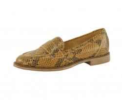 Kožené topánky s haďou potlačou Heine, žltá