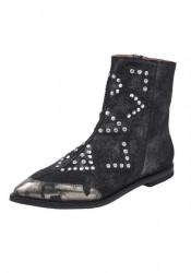 Kožené topánky s nitmi xyxyx. čierno-metalická