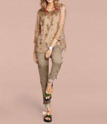 Kožené velúrové nohavice, pieskové