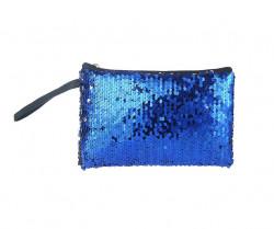 Kozmetická taštička flitrovaná, modrá