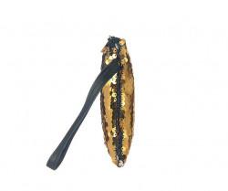 Kozmetická taštička flitrovaná, zlatá #1
