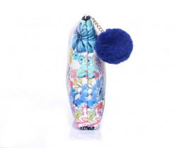 Kozmetická taštička kvetovaná s brmbolcom, farebná #1