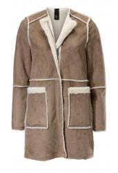 Kožušinový obojstranný kabát, karamelovo-krémový