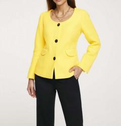 Krátke sako s gombíkmi v kontrastnej farbe Heine, žltá