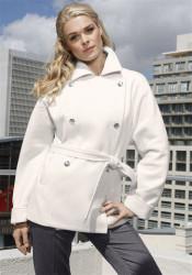 Krátky biely kabát na dvojradové zapínanie 8859d6ce98