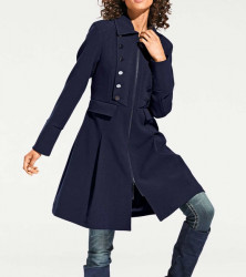 Krátky kabát vo vojenskom štýle, modrý