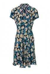 Kvetinové šaty s mašľou Ashley Brooke, farebné