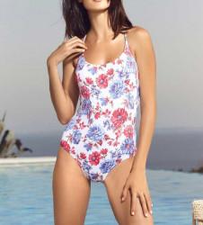Kvetované jednodielne plavky s pásikmi na chrbte Heine #1