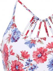 Kvetované jednodielne plavky s pásikmi na chrbte Heine #5