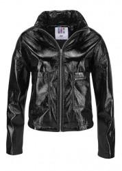 Lakovaná bunda imitácie kože, čierna