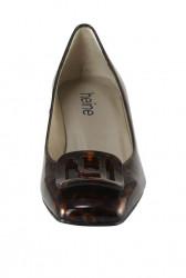 Lakované kožené lodičky Heine, hnedo-čierne #4