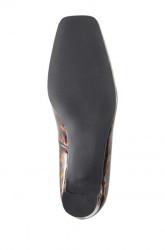Lakované kožené lodičky Heine, hnedo-čierne #6