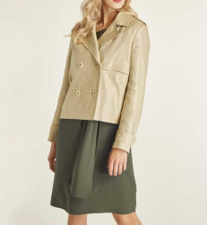 Ľanová krátka bunda Heine, pieskovo-zlatá