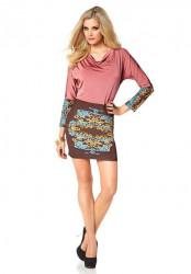 MELROSE šaty s vodopádovým výstrihom, ružová-hnedá-farená