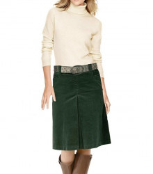 Menčestrová sukňa Heine, tmavozelená