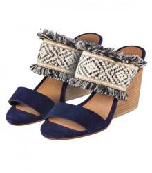 Modro-béžové etno sandále
