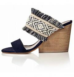 Modro-béžové etno sandále #1
