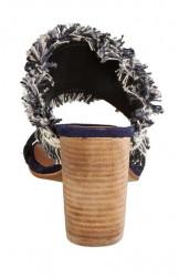 Modro-béžové etno sandále #3