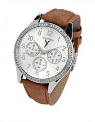 Náramkové hodinky s kamienkami, strieborno-hnedý