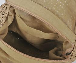 Okrúhla slamená kabelka cez plece so strapcom, béžová #2