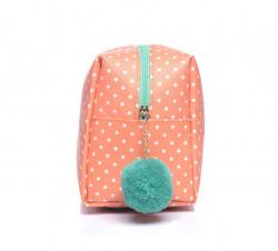 Oválna kozmetická taštička bodkovaná s brmbolcom, oranžová #1
