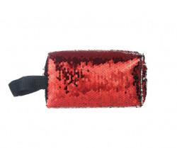 Oválna kozmetická taštička flitrovaná, červená