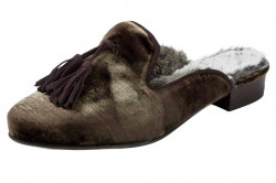 Papuče z jemného zamatu a strapcami, hnedo-šedá