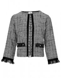 Pepitová krátka bunda, čierno-biela