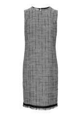 Pepitové púzdrové šaty, čierno-biela
