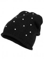 Pletená čiapka s perlami Collezione Alessandro, čierna