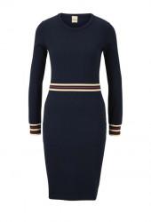 Pletené šaty s kontrastnými pruhmi Heine, modrá