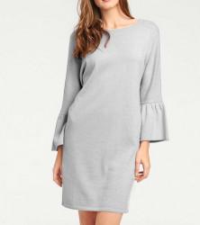 Pletené šaty s volánmi Heine, sivé
