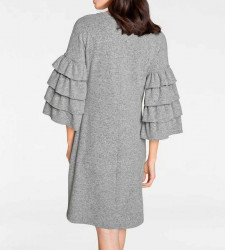 Pletené šaty s volánmi Rick Cardona, sivá #3